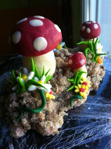 champignon, Amanite tue-mouches. Lat.: Amanita Muscaria., décor, chocolat, pâte à sucre, papou, pâtissier, fleur