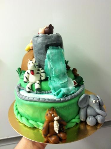 savane, afrique, wedding cake, animaux, zébre, tigre, crocodile, singe, banane, éléphant, pâte amande, modelage, génoise,