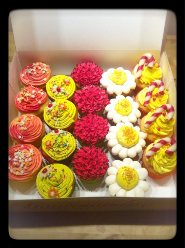 cupcake, cup cake, papou, pâtissier, alsace, coloré, girly, flashy, sucre d'orge, fleur, printanier,M&Ms, oréo, nutella, garni, garniture, fourré, arc en ciel, rainbow cup cake, livraison, domicile, zellwiller