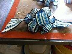 sucre, tiré, ruban, bleu, ivoire, blanc, marron, noeud