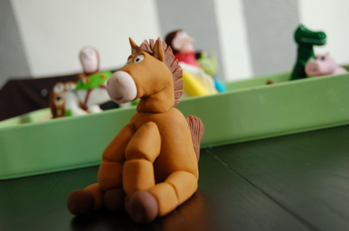 pile poile, cheval, toy story, fimo, pâte à sucre, pâte a modeler, modelage