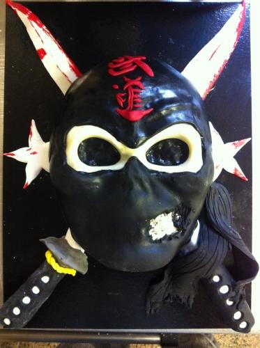 ninja,sabre, sang, étoile ninja, tête de mort, wedding cake, papoou, pâtisserie, chocolat, abricot, pâte à sucre, pâte amande, boulangerie, pain, hoenheim, cagoule, noire, calligraphie